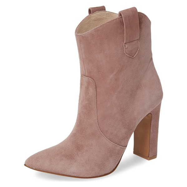 Blush Almond Toe Chunky Heel Boots Vintage Ankle Booties image 1
