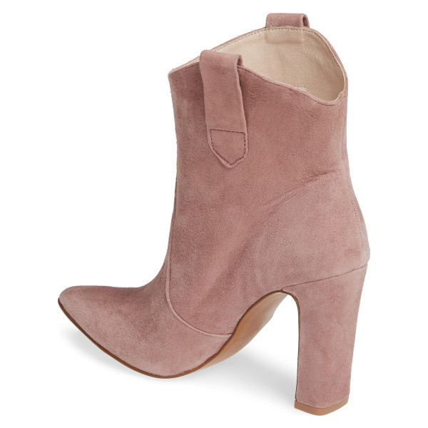 Blush Almond Toe Chunky Heel Boots Vintage Ankle Booties image 5