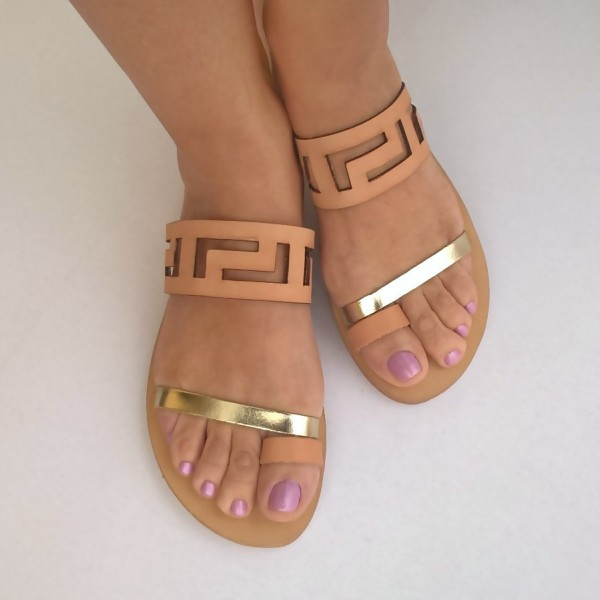 Blush and Gold Geometry Hollow out Open Toe Flat Women's Slide Sandals image 2