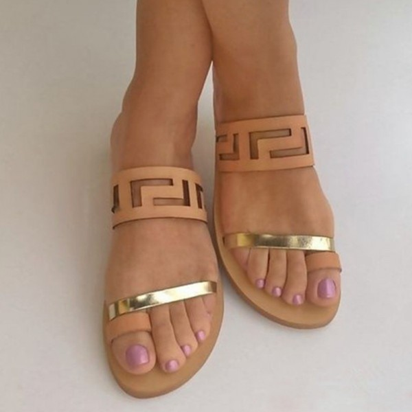 Blush and Gold Geometry Hollow out Open Toe Flat Women's Slide Sandals image 1