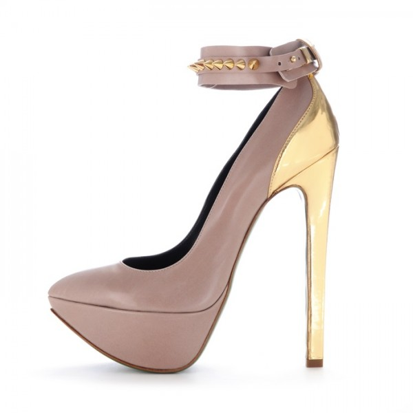 Blush and Gold Rivets Ankle Strap Heels Platform Pumps image 1