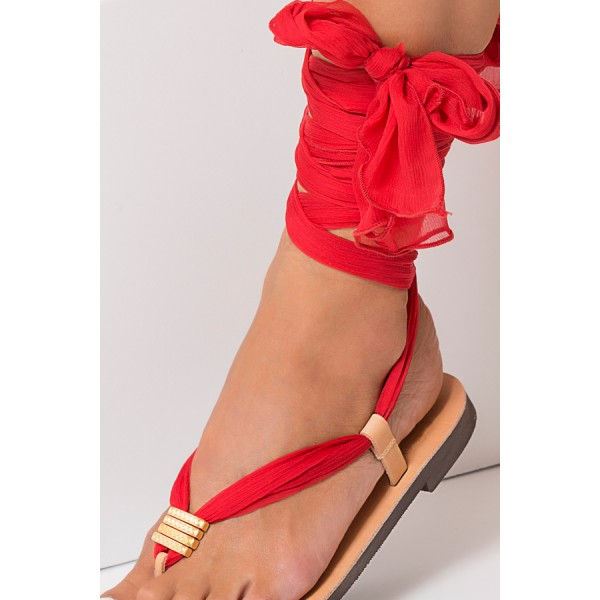 Blush Beach Gladiator Sandals Red Scarves Strappy Sandals image 2