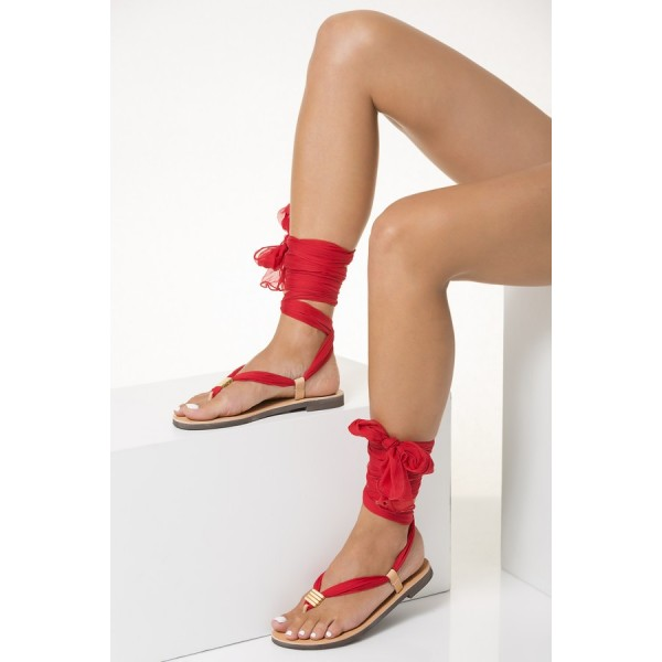 Blush Beach Gladiator Sandals Red Scarves Strappy Sandals image 3