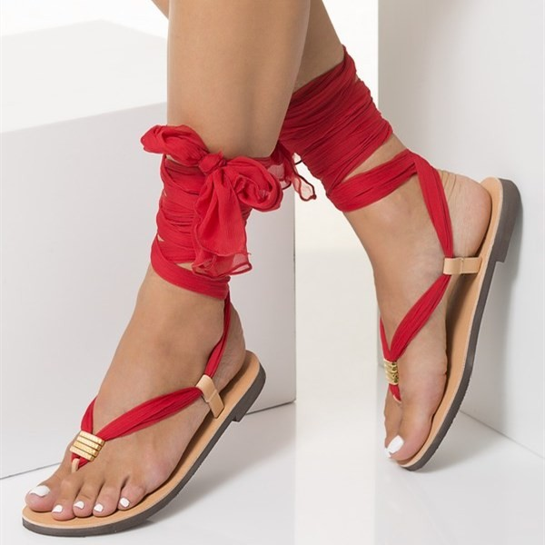 Blush Beach Gladiator Sandals Red Scarves Strappy Sandals image 1