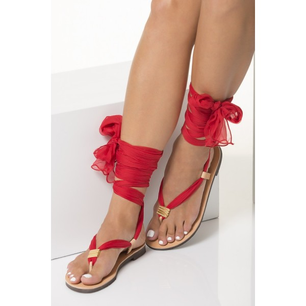 Blush Beach Gladiator Sandals Red Scarves Strappy Sandals image 4