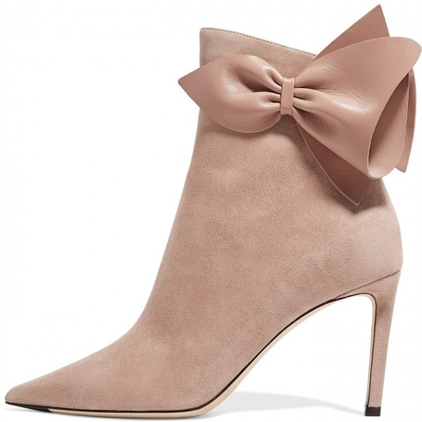 Blush Bow Suede Stiletto Boots Pointy Toe Ankle Booties image 1