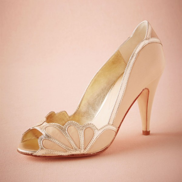 Blush Bridal Heels Peep Toe Pumps for Wedding image 1