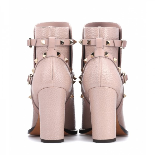 Women's Blush Fashion Boots Chunky Heels Comfy Shoes with Rockstuds image 4