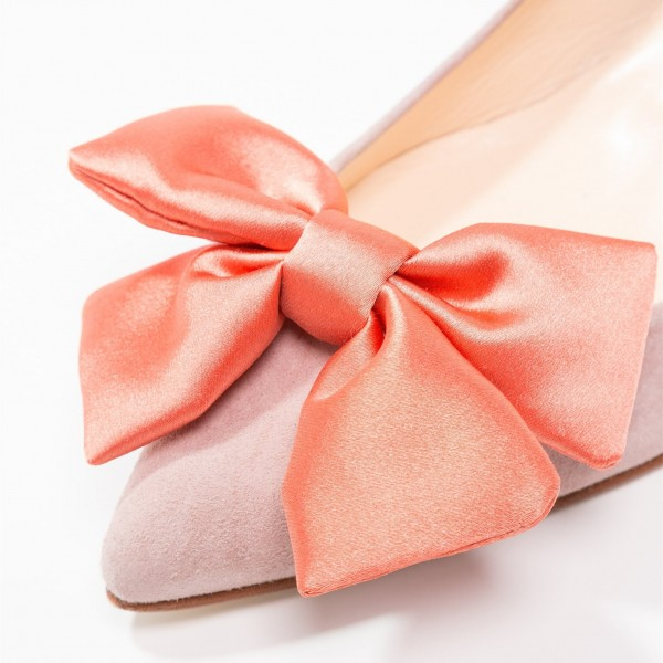 Blush Chunky Heels Pointy Toe Office Heels with Bow image 4