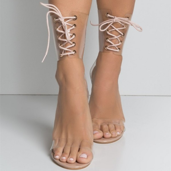 new release best prices limited guantity Blush Clear Heels Open Toe Sandals Stiletto Heels Lace up Sandals
