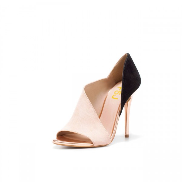 Blush Heels Open Toe Suede Stiletto Heel D'orsay Pumps image 6