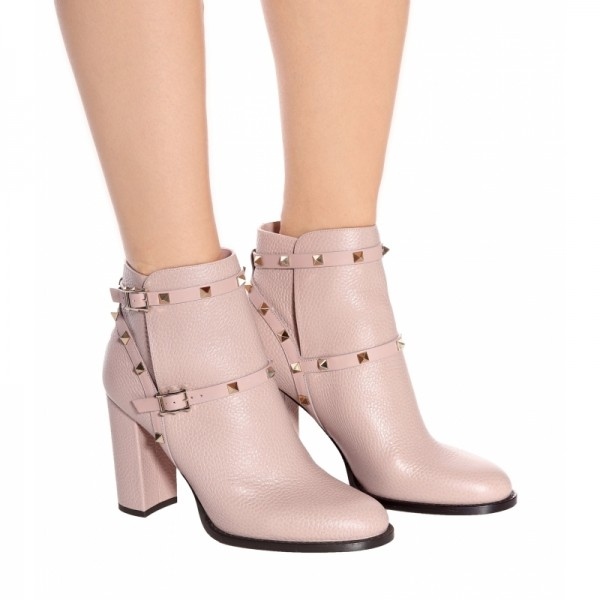 Women's Blush Fashion Boots Chunky Heels Comfy Shoes with Rockstuds image 5