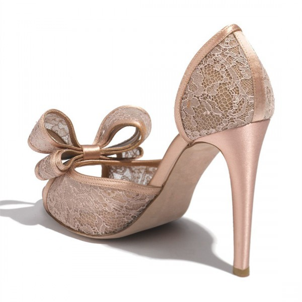 Blush Wedding Shoes Peep Toe Lace Heels with Bow image 5