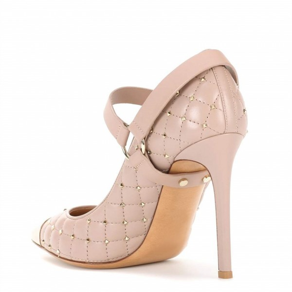 Blush Mary Jane Heels Studs Shoes Quilted Lining Stiletto Heel Pumps image 6