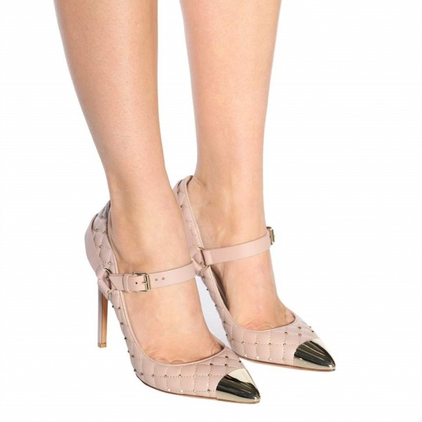 Blush Mary Jane Heels Studs Shoes Quilted Lining Stiletto Heel Pumps image 3