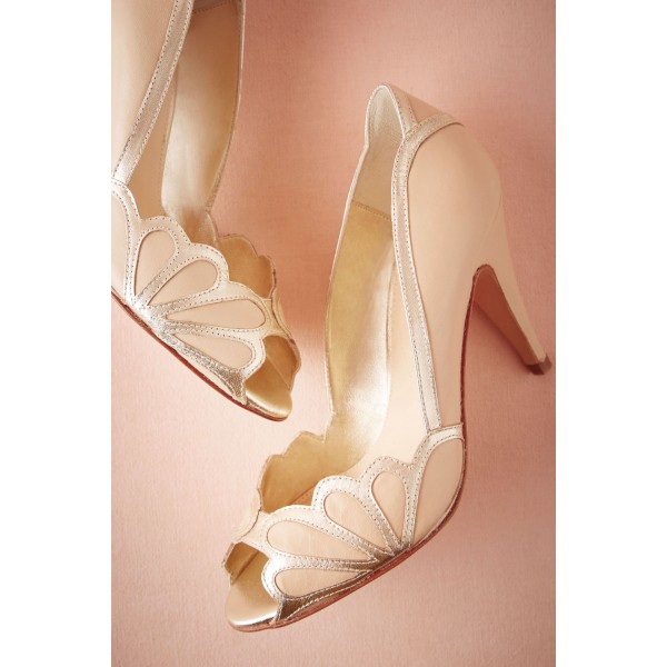 Blush Bridal Heels Peep Toe Pumps for Wedding image 3