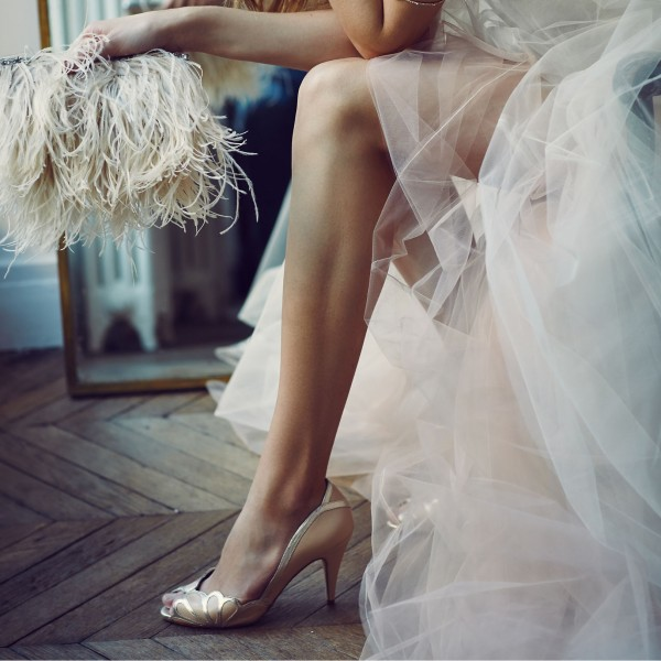 Blush Bridal Heels Peep Toe Pumps for Wedding image 2