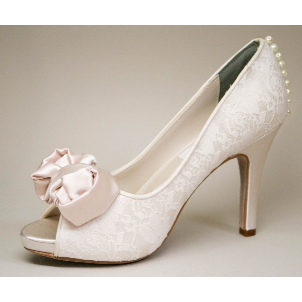 1e215701a2f6 Blush Peep Toe Wedding Shoes Lace Stiletto Heels Pumps with Bow image 1 ...