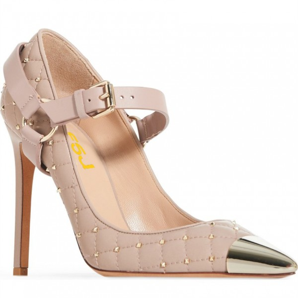 Blush Mary Jane Heels Studs Shoes Quilted Lining Stiletto Heel Pumps image 4