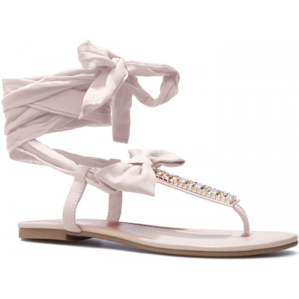 Women's  Pink Bow Thong Sandals Rhinestone Decorated Comfortable Flats image 2