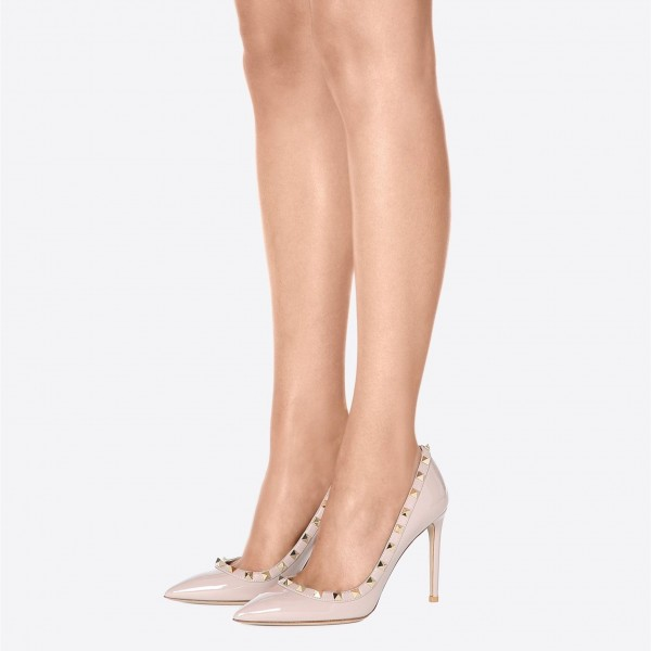 Blush Rivets Stiletto Heels Pumps Office Heels image 3