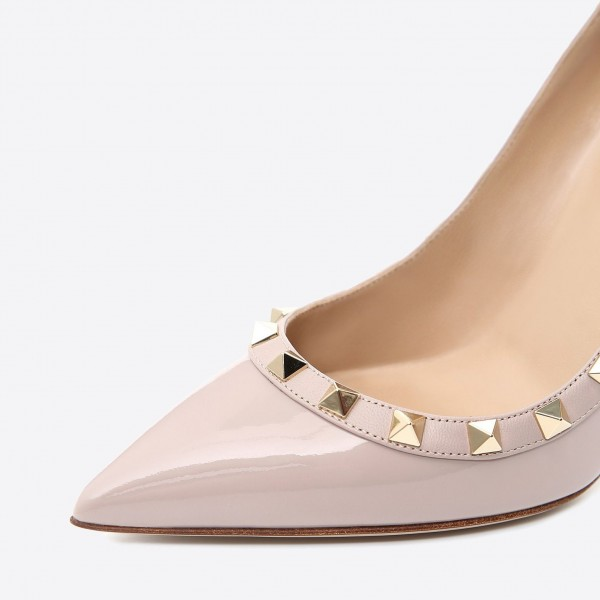 Blush Rivets Stiletto Heels Pumps Office Heels image 2