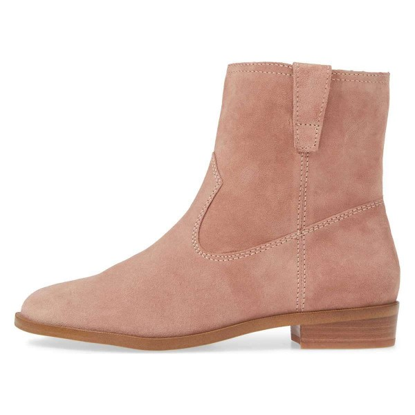 Blush Suede Flat Ankle Booties image 3