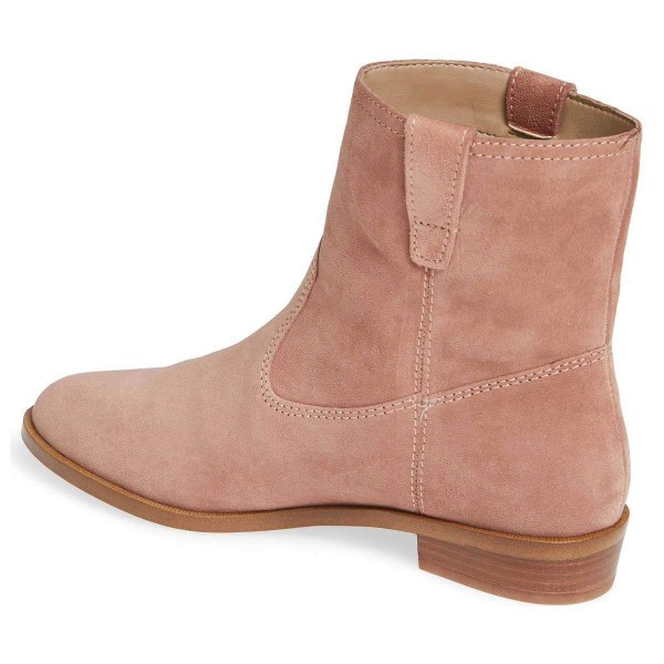 Blush Suede Flat Ankle Booties image 4