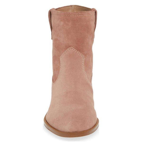 Blush Suede Flat Ankle Booties image 2