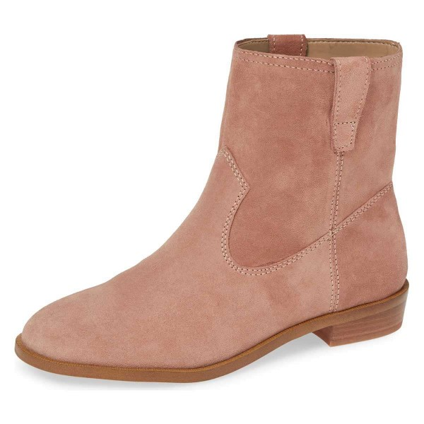 Blush Suede Flat Ankle Booties image 1