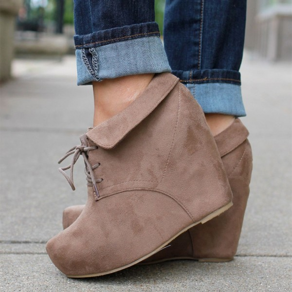 Light Brown Suede Lace up Fold Over Platform Wedge Booties image 1