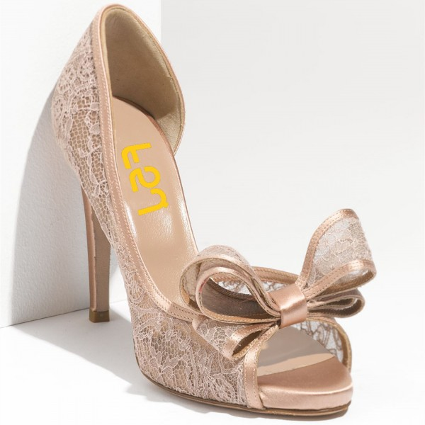 Blush Wedding Shoes Peep Toe Lace Heels with Bow image 4