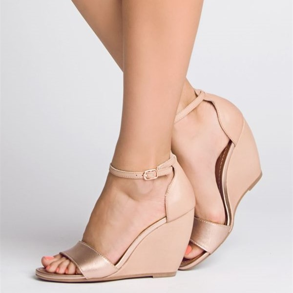 Blush Wedge Heels Sandals Open Toe Ankle Strap Sandals image 1