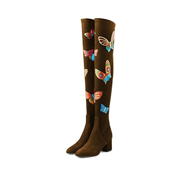 Brown Long Boots Over-the-knee Suede Butterflies Print Chunky Heels image 1