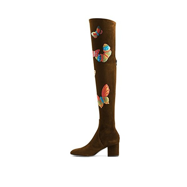 Brown Suede Butterflies Print Chunky Heels Over-the-knee Long Boots image 5