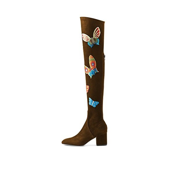 Brown Long Boots Over-the-knee Suede Butterflies Print Chunky Heels image 4