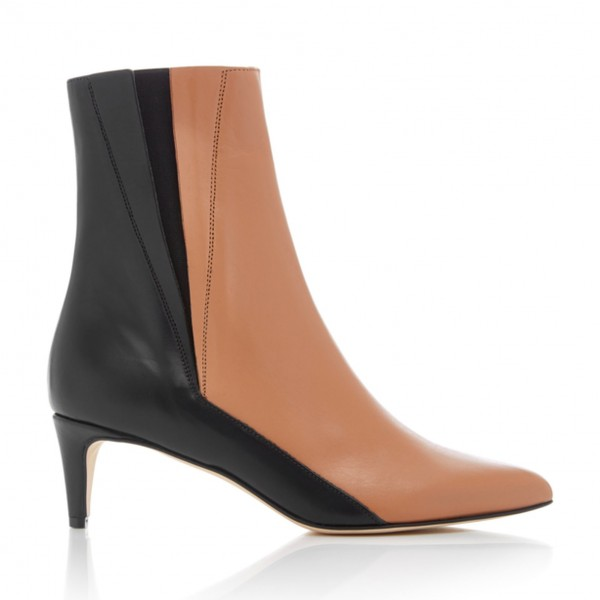 Brown and Black Two Tone Ankle Booties Pointy Toe Kitten Heel Boots image 2