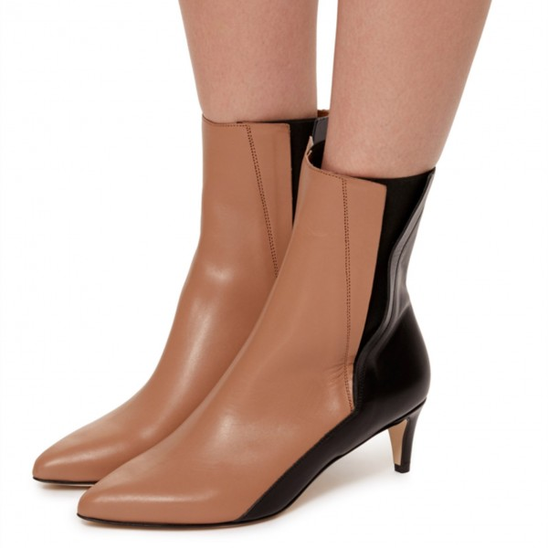 Brown and Black Two Tone Ankle Booties Pointy Toe Kitten Heel Boots image 1