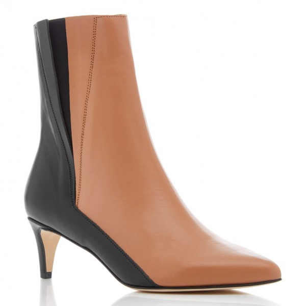 Brown and Black Two Tone Ankle Booties Pointy Toe Kitten Heel Boots image 4
