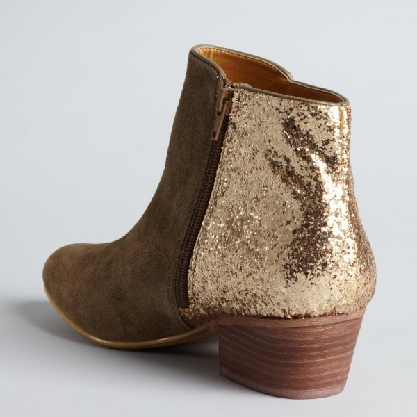 Women's Brown Glitter Fashion Boots Retro Chunky Heels Ankle Boots image 3