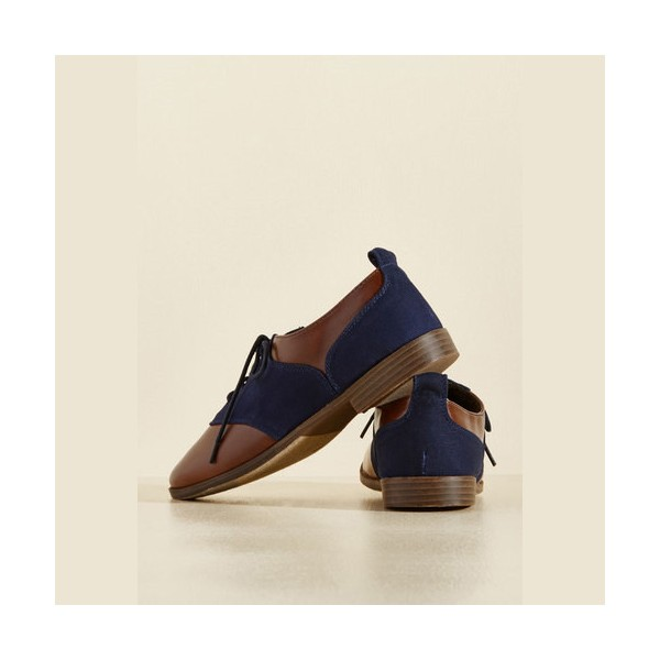 Brown and Navy Women's Oxfords Round Toe Flats Lace up Vintage Shoes image 2
