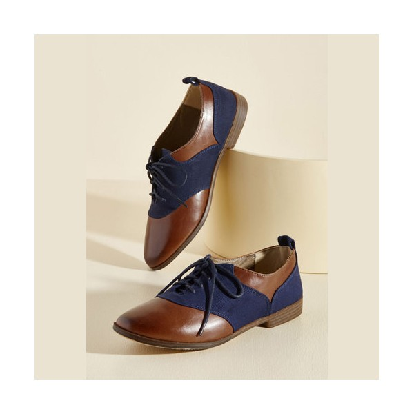 Brown and Navy Women's Oxfords Round Toe Flats Lace up Vintage Shoes image 1