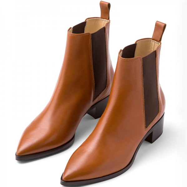 Brown Chelsea Boots Block Heel Ankle Boots image 1