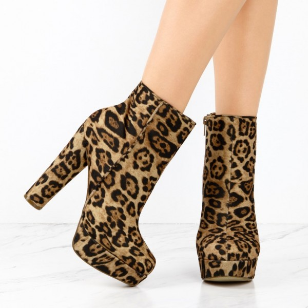 Leopard Print Boots Suede Chunky Heel Platform Ankle Boots image 2