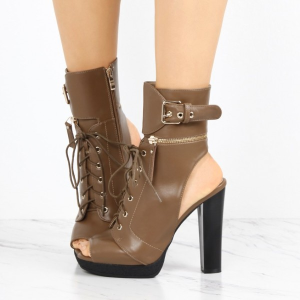 Brown Chunky Heel Boots Vintage Lace Up Peep Toe Platform Ankle Boots image 1