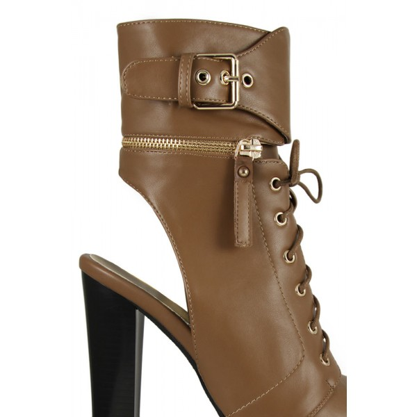 Brown Chunky Heel Boots Vintage Lace Up Peep Toe Platform Ankle Boots image 2