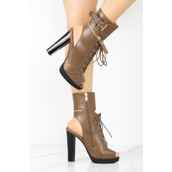 Brown Chunky Heel Boots Vintage Lace Up Peep Toe Platform Ankle Boots image 3