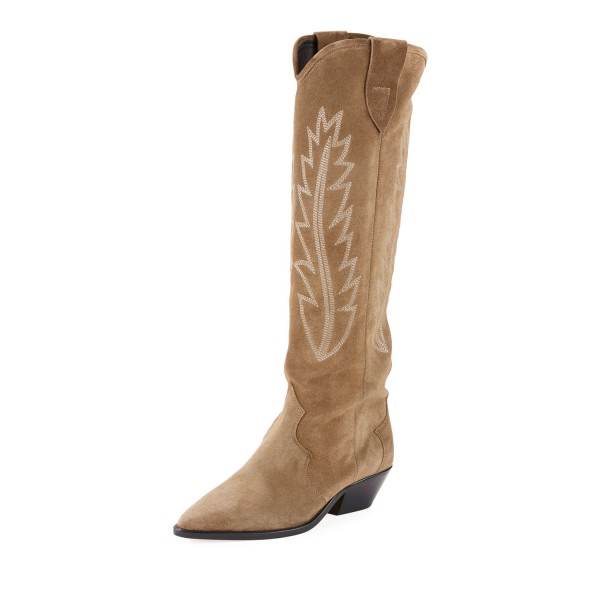 Khaki Chunky Heels Boots Suede Pointy Toe Knee High Cowgirl Boots image 1