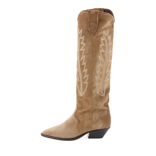 Khaki Chunky Heels Boots Suede Pointy Toe Knee High Cowgirl Boots image 2