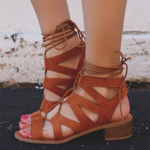 a24746434764 Brown Chunky Heels Lace up Gladiator Sandals Open Toe Strappy Sandals image  1 ...